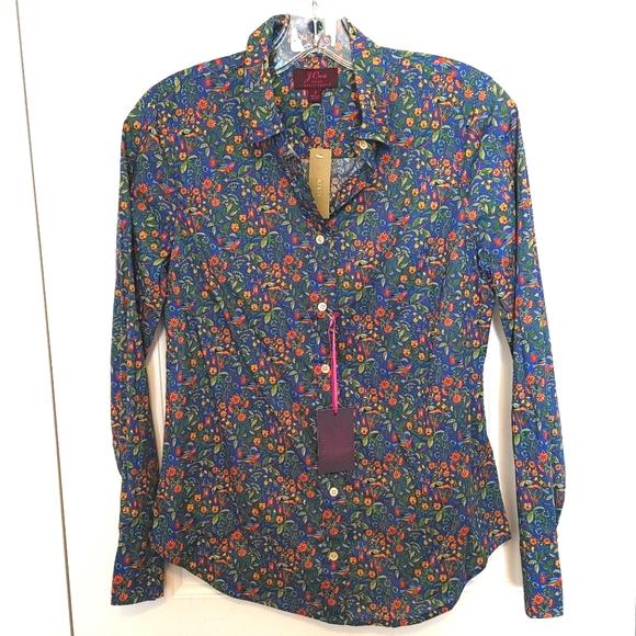 New J Crew blouse floral bird print Size 4
